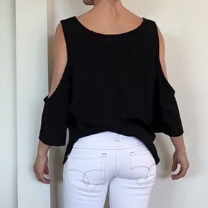 Groceries organic black cold shoulder top S M